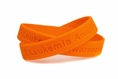 """Leukemia Awareness"" Orange Rubber Bracelet Wristband - Adult 8"""