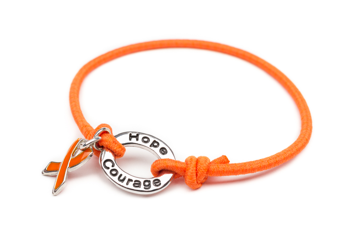 Cancer Orange Ribbon Silver Bracelet Awareness Charm Find The Cure Stretch