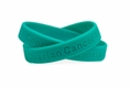 """Ovarian Cancer Awareness"" Teal Rubber Bracelet Wristband - Adult 8"""