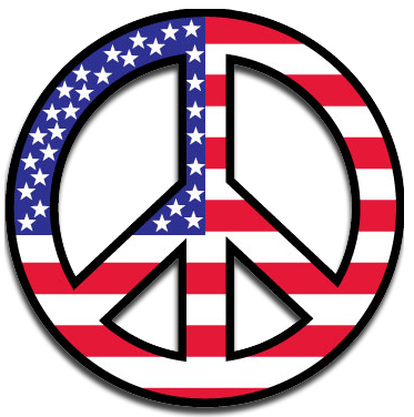 Peace Sign Car Magnet Red White Blue