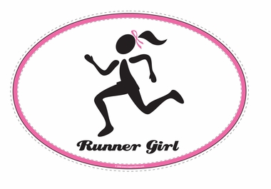 Pink Ribbon Runner Girl Decal