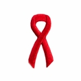 Red Ribbon Embroidered Stick-ons - 25-pack