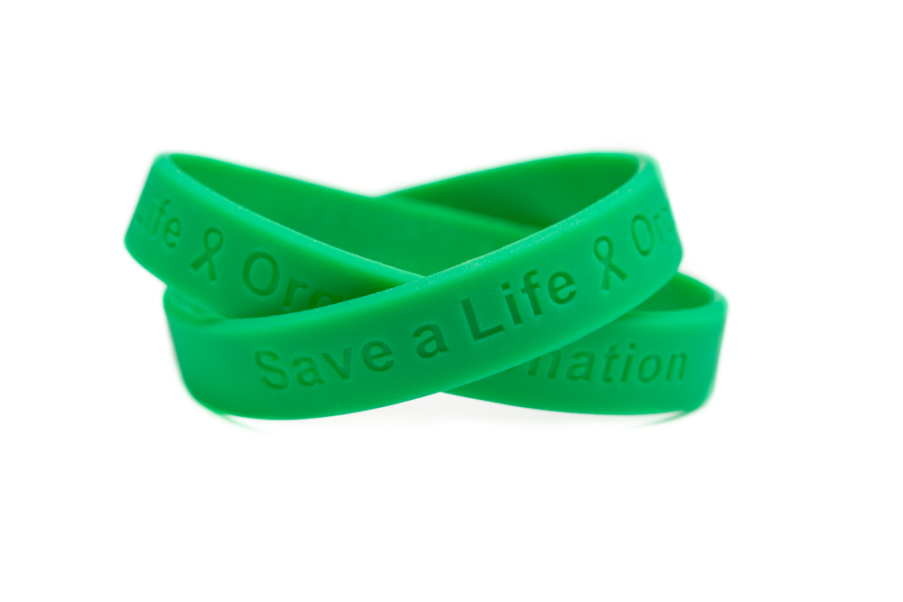 Save A Life Organ Donation Green Rubber Wristband