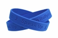 """Stand Up - Speak Up - Stop Bullying""  Blue Wristband - Adult 8"""