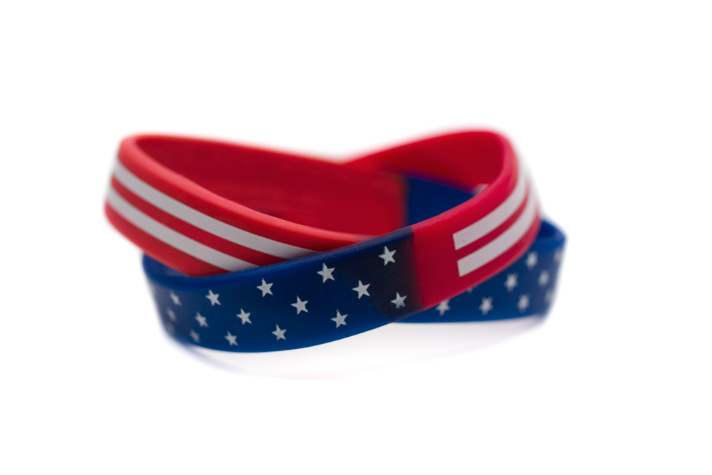 Red White And Blue Rubber Bracelet Patriotic Military Wristband