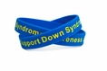 """Support Down Syndrome blue and yellow wristband - Adult 8"""""""