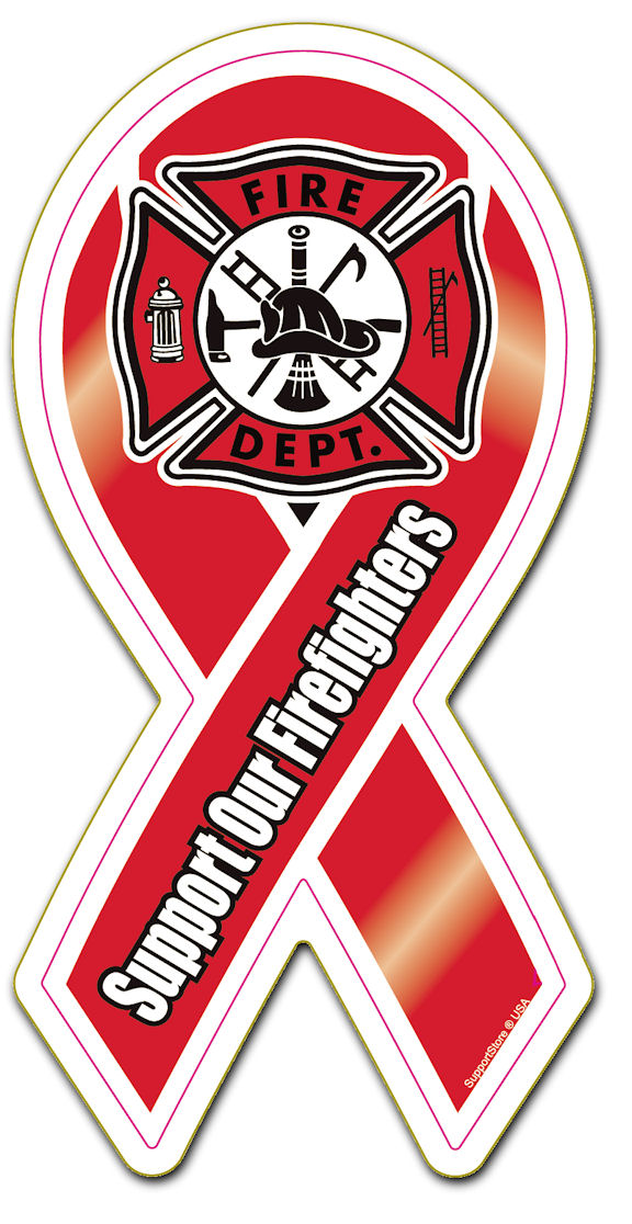 Fire Fighters Support Firefighters Ribbon Support Fire Fighters