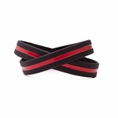 Support Firefighters Wristband Black w. Red Line - Youth 7""