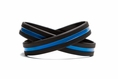 Support Law Enforcement Wristband Black w. Blue Line - XL 9""