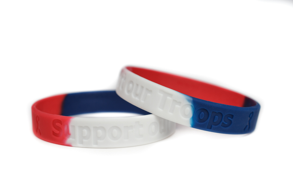 Support Our Troops Red White Blue Rubber Wristband Military Patriotic Bracelet