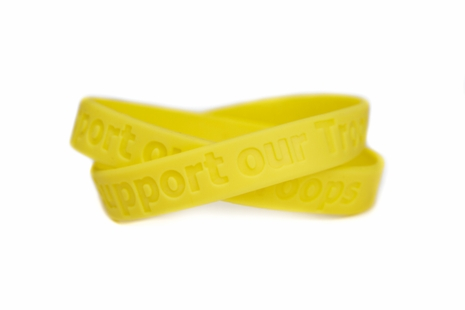 """Support our Troops"" Rubber Bracelet Wristband - Yellow"