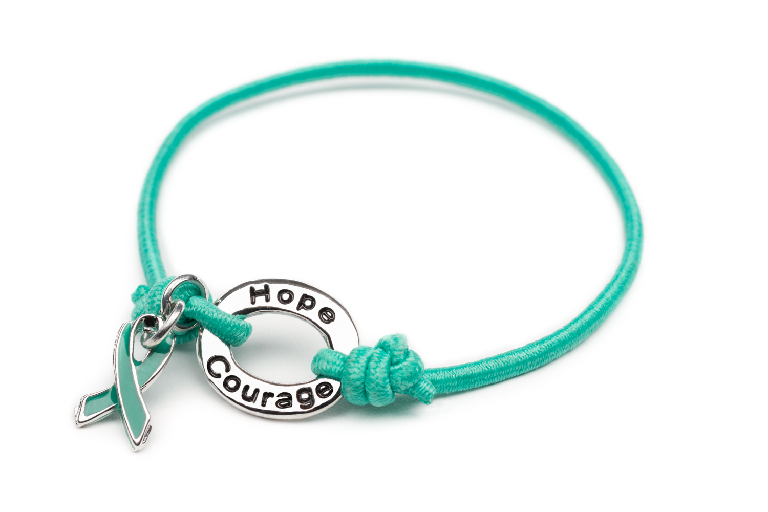 Teal Color Ovarian Cancer Awareness Ribbon Bracelet Cervical Charm