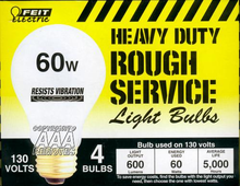 60W 130 Volt Garage Door Opener Light Bulbs (HEAVY DUTY) - Model 60W-RS