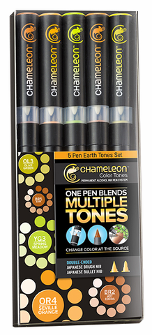 Chameleon Color Tone Pens- Earth Tones Set of 5