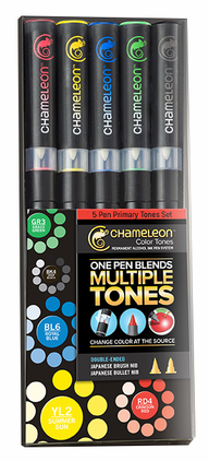 Primary Tones 5-Pack Chameleon Color Tones Double Ended Blending Markers