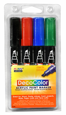 DecoColor Acrylic Paint Marker Primary Set of 4