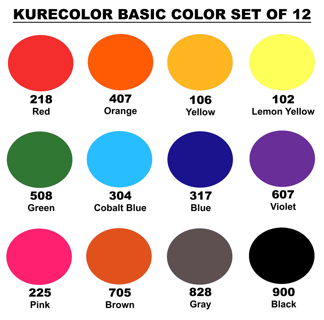 Zig Kurecolor Ink Basic Colors Set of 12