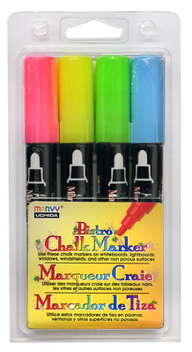 Marvy Bistro Chalk Marker Medium Tip- Fluorescent Set 4H