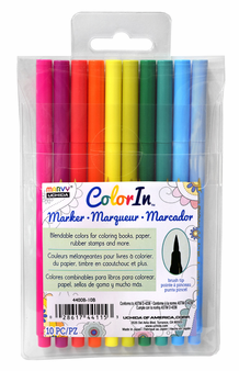 Marvy Color In Markers- Brush Tip- Bright Set of 10 (4400B-10B)