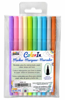 Marvy Color In Markers- Brush Tip- Pastel Set of 10 (4400B-10C)