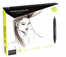 Prismacolor Double-Ended Brush Marker Set 12 : French Grey Colors