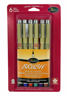 Sakura Pigma Brush Marker - Set of 6