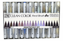 Zig Clean Color Real Brush - Grayscale Set of 20