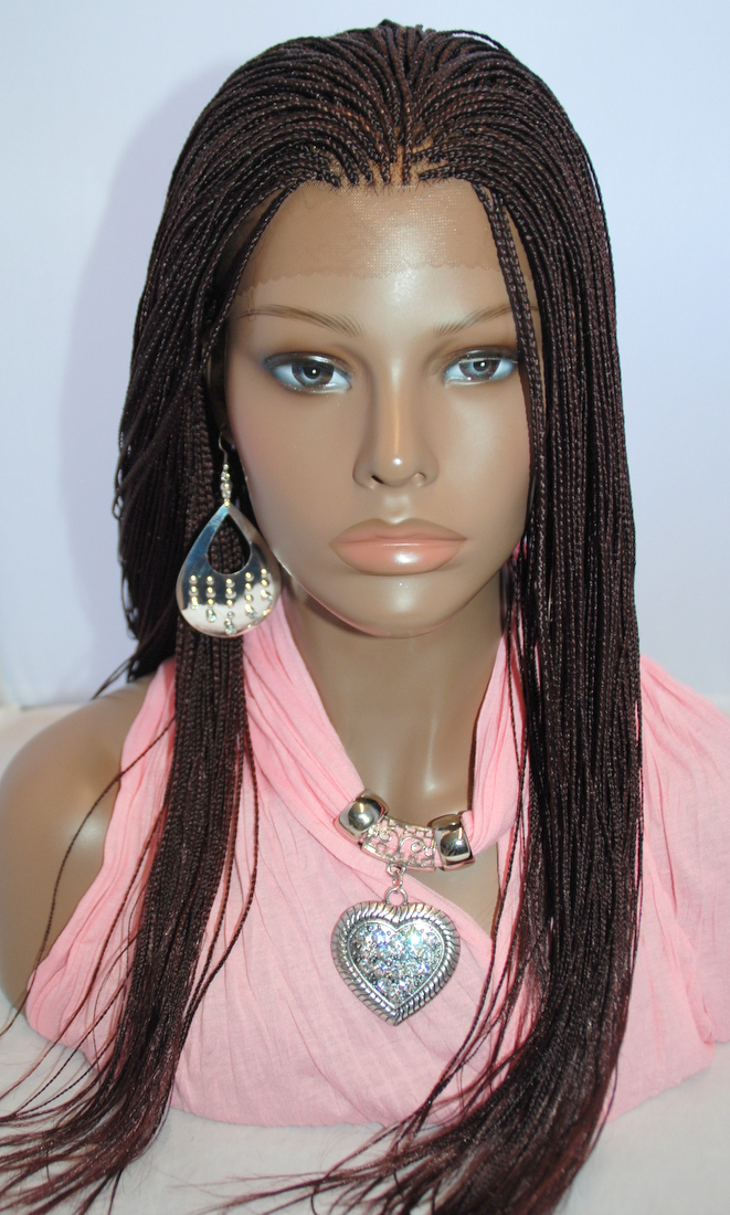 Braided Lace Front Wig in Micro Braids Color #33 in 20 Inches
