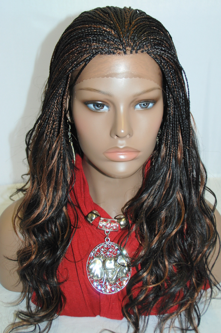 Braided Lace Front Wig Micro Braids Color #1B/30 in 17 Inches