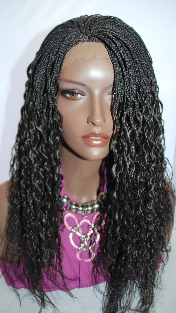 Braided Lace Front Wig Micro Braids Color #2 in 17 Inches