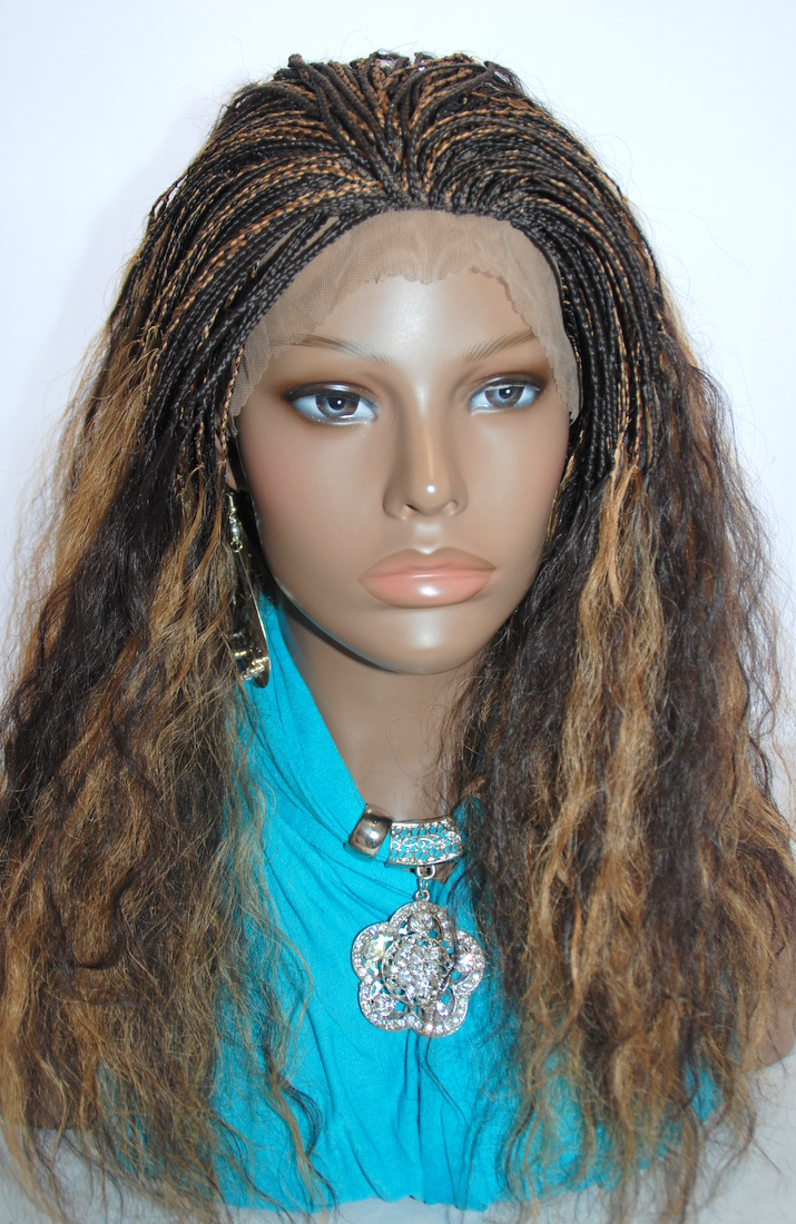 Braided Lace Front Wig Micro Braids Color #4/27 in 17 Inches