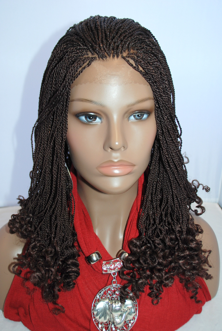 Braided Lace Front Wig Senegalese Twist Color #33 in 9 Inches