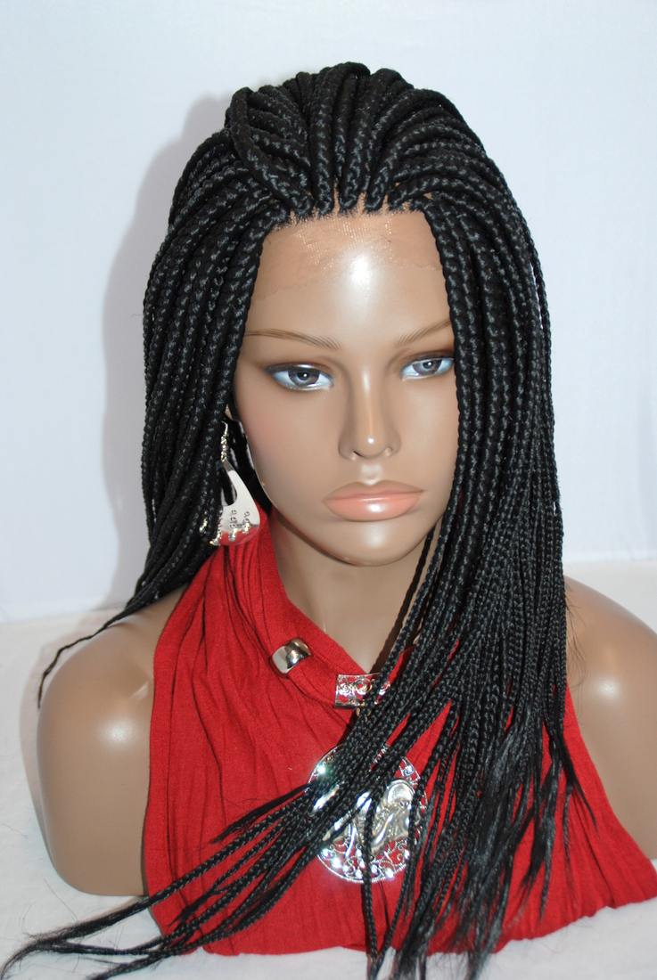 Fully Hand Braided Lace Front Wig Medium Braids Color #1 in 21 Inches ...