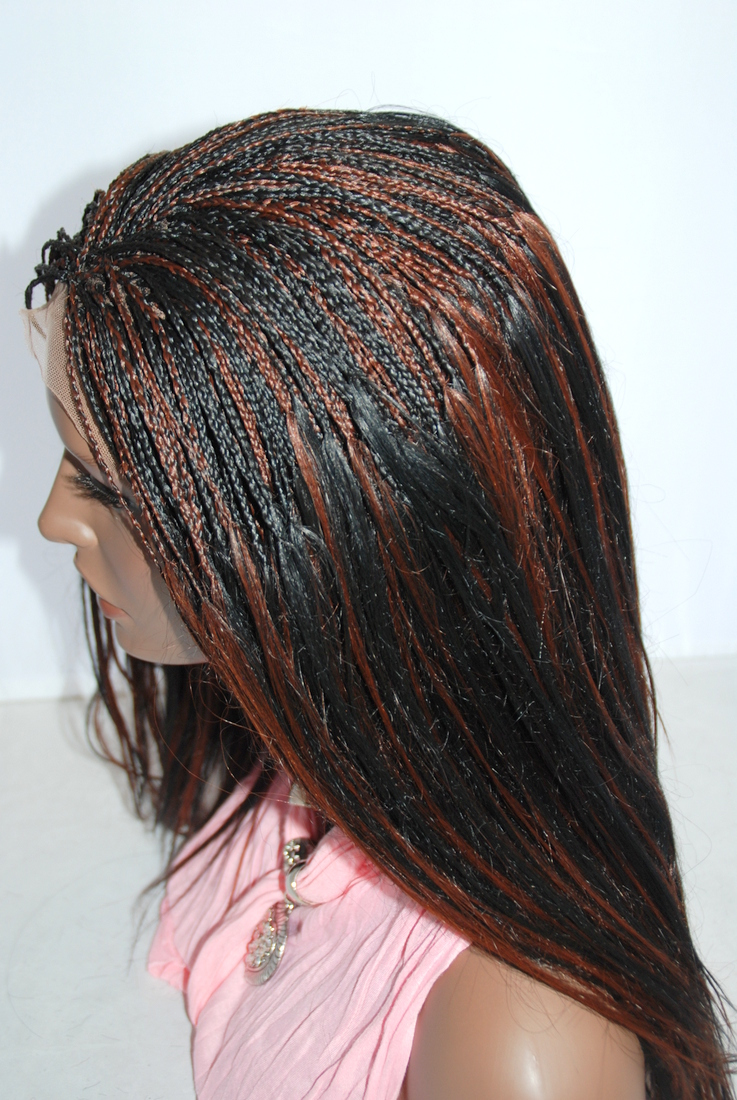 Hand Braided Lace Wig Micro Braids Color 1b33 In 17 Inches