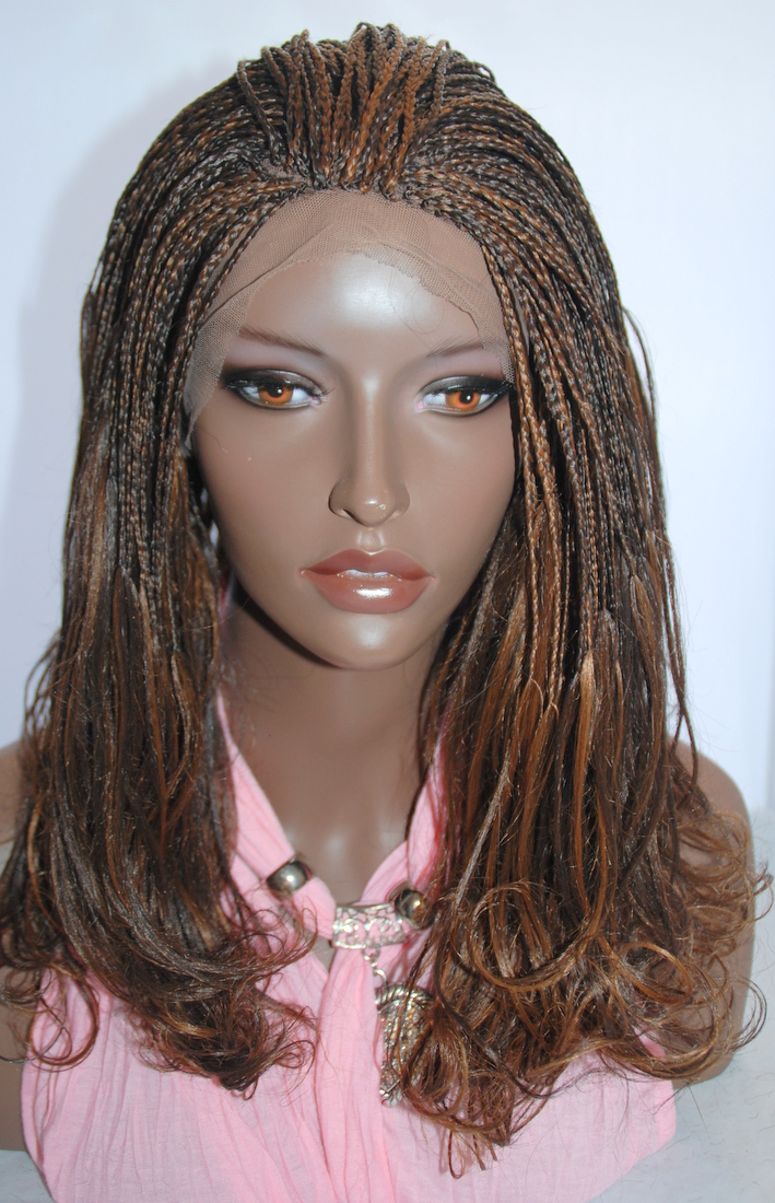 Hand Braided Lace Front Wig Micro Braids Color 4/30 in 17 ...