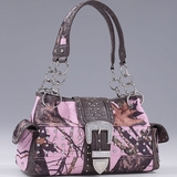 Mossy Oak Camo Handbag With Buckle Accent Pink 53910 Mpcf