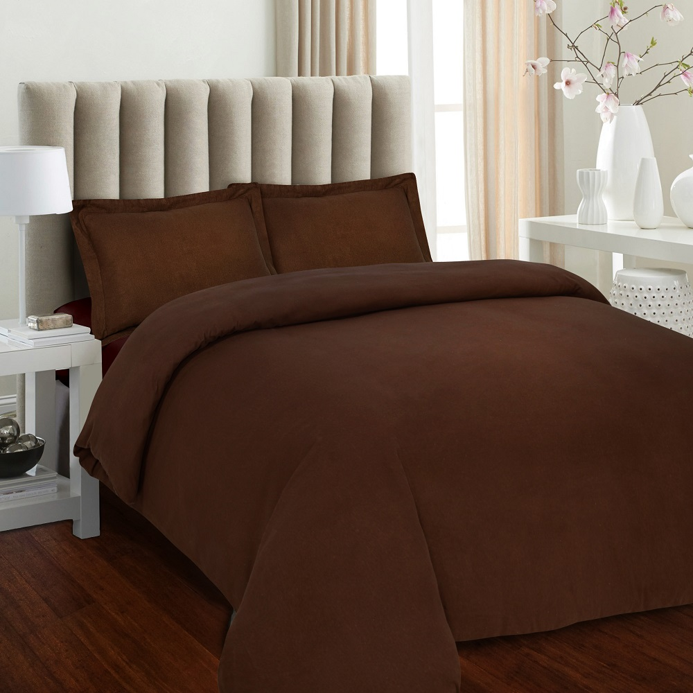 Luxury 170 Gsm Flannel Solid Duvet Cover Set