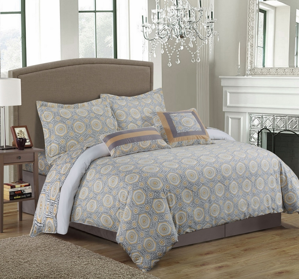 Grey and yellow medallion bedding - Gray and yellow bedding sets ...