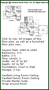 3D Images For CHP-BS-1084-1660-AD - Build-in-Stages Small 3D House Plan Views
