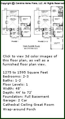 3D Images For CHP-BS-1275-1595-AD - Build-in-Stages 3D House Plan Views