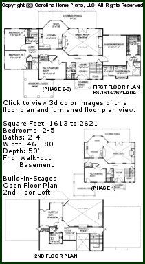 3D Images For CHP-BS-1613-2621-AD - Expandable 2 Story 3D House Plan Views