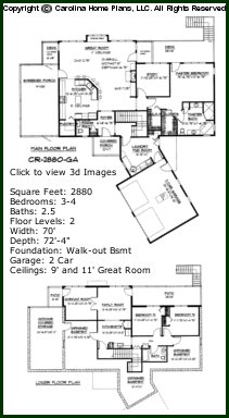 3D Images For CHP-CR-2880-GA - Contemporary Ranch 3D House Plan Views
