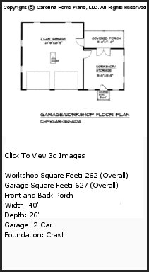 3D Images For CHP-GAR-262-AD - Garage-Workshop 3d House Plan Views