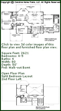 3D Images For CHP-LG-2621-GA - Large Open Floor 3D House Plan Views