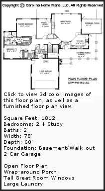 3D Images For CHP-MS-1812-AC - Mid-sized Open Style 3D House Plan Views