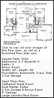 3D Images For CHP-MS-2102-AC - Midsize Country Craftsman 3D House Plan Views