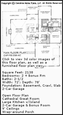 3D Images For CHP-MS-2138-AC - Midsize Country Cottage 3D House Plan Views