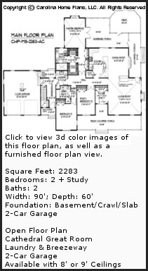 3D Images For CHP-MS-2283-AC - Midsize Country Style 3D House Plan Views