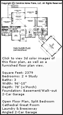 3D Images For CHP-MS-2379-AC - Midsize Craftsman Style 3D House Plan Views