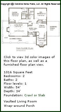 3D Images For CHP-SG-1016-AA - Cottage Style 3D House Plan Views